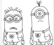 Coloriage et dessins gratuit Minion Kèvin et Stuart pour enfant à imprimer