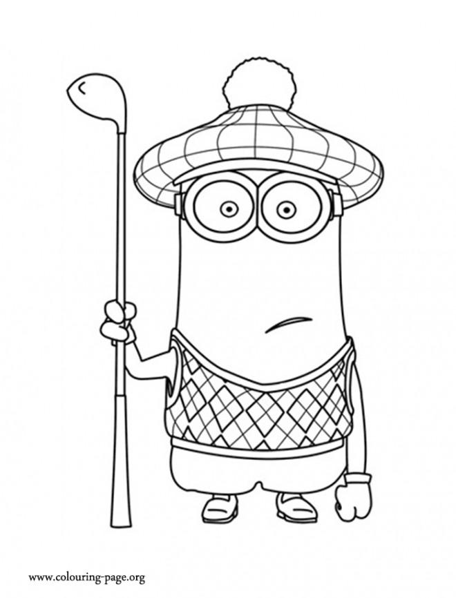 Coloriage et dessins gratuits Minion Kevin Golfeur à imprimer