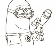 Coloriage Minion Kévin son fusil