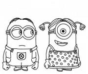 Coloriage et dessins gratuit Minion Stuart et minionne à imprimer