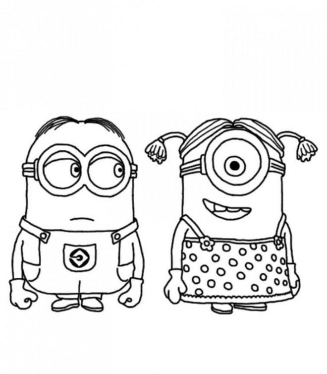 Coloriage et dessins gratuits Minion Stuart et minionne à imprimer