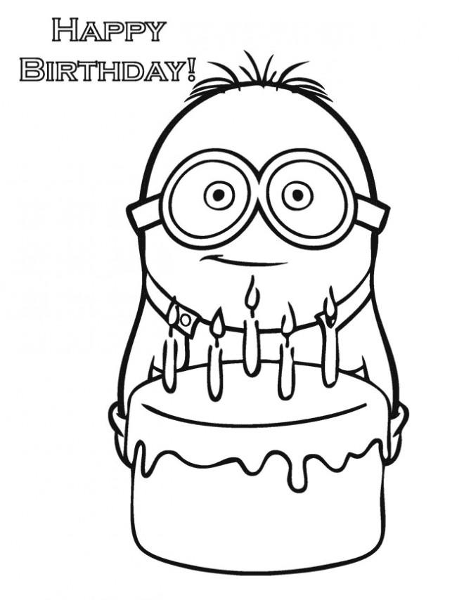 Coloriage et dessins gratuits L'anniversaire de Minion Stuart à imprimer