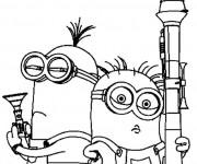 Coloriage et dessins gratuit Les Minions Stuart et Kevin à imprimer