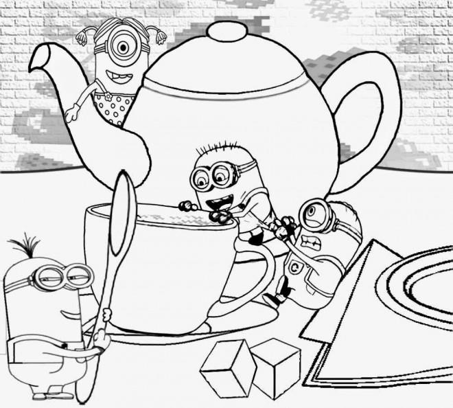 Coloriage et dessins gratuits Les Minions sur La Table à imprimer
