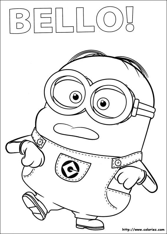 Coloriage minion bello dessin gratuit imprimer for Immagini dei minions da colorare