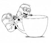 Coloriage et dessins gratuit Minion Kévin et Bob à découper à imprimer