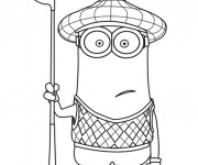 Coloriage Minion Kevin joue au Golf