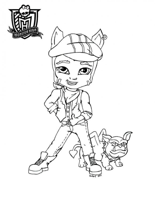 Coloriage et dessins gratuits Monster High Baby Clawd Wolf à imprimer