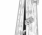 Coloriage et dessins gratuit cercueil de vampire Halloween à imprimer
