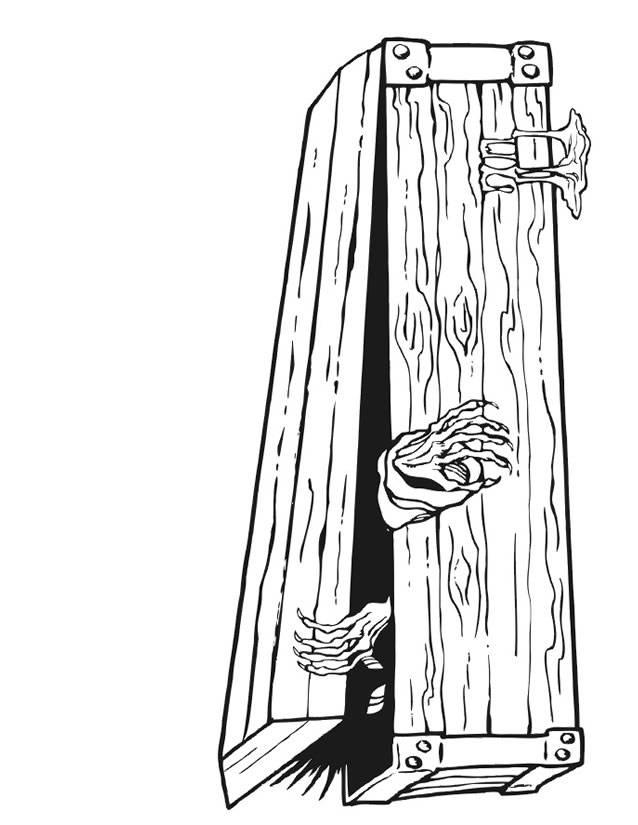 Coloriage et dessins gratuits cercueil de vampire Halloween à imprimer