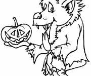 Coloriage Dessin loup garou Halloween