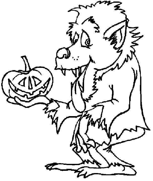 Coloriage Dessin Loup Garou Halloween Dessin Gratuit A Imprimer