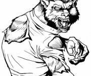 Coloriage et dessins gratuit dessin loup-garou Halloween à imprimer