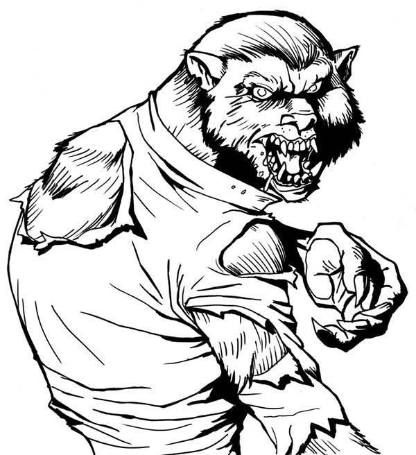 Coloriage et dessins gratuits dessin loup-garou Halloween à imprimer