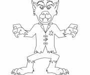 Coloriage et dessins gratuit drôle de loup-garou à imprimer