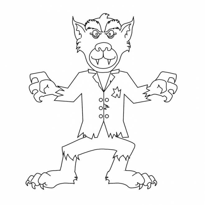 Coloriage et dessins gratuits drôle de loup-garou à imprimer