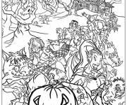 Coloriage Fête monstres d'Halloween réunis
