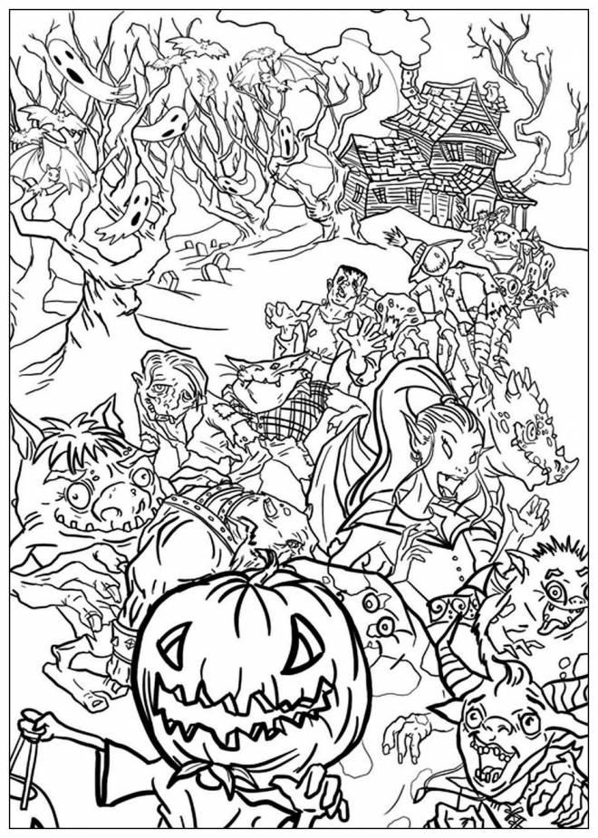 Coloriage et dessins gratuits Fête monstres d'Halloween réunis à imprimer