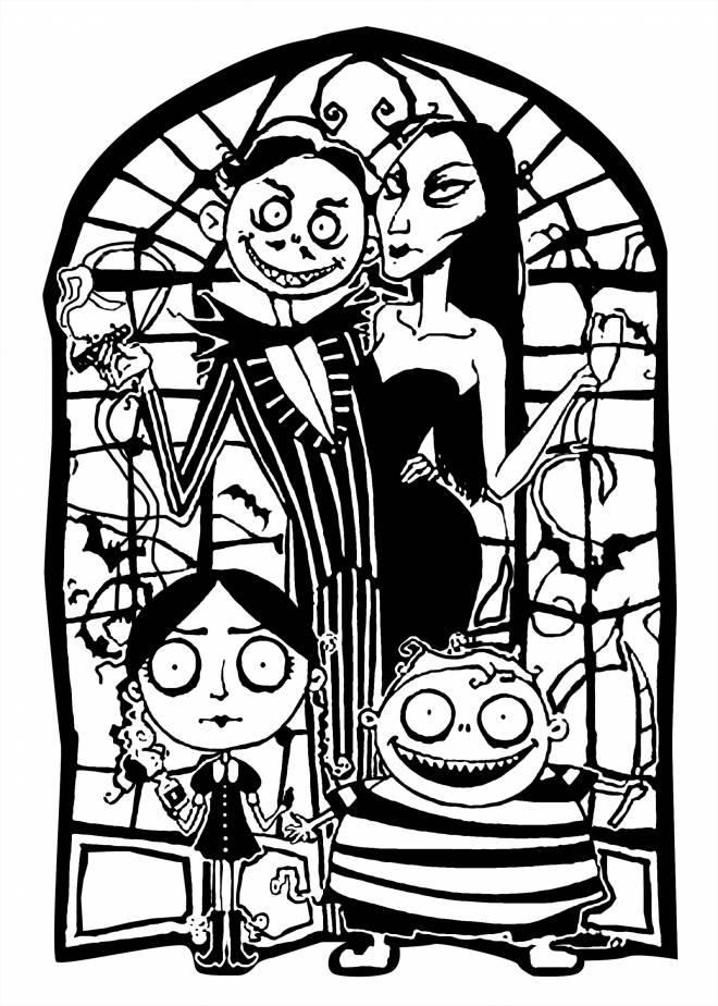 Coloriage et dessins gratuits Halloween la famille adams - Coloriage Halloween ... à imprimer