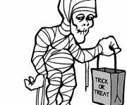 Coloriage momie passe l'Halloween