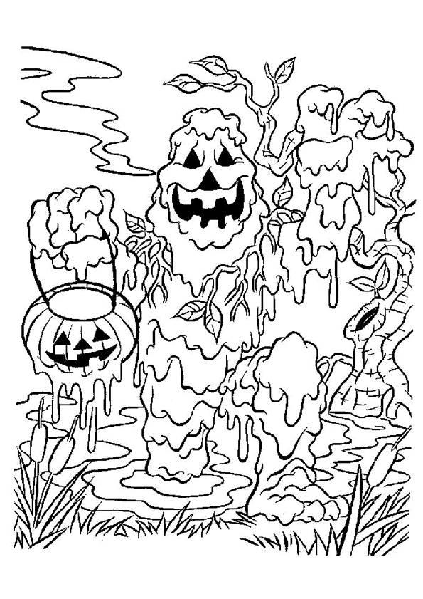 Coloriage et dessins gratuits Monstre de bou d'Halloween à imprimer