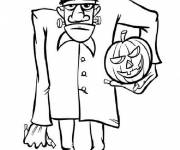 Coloriage Monstres frankenstein d'Halloween