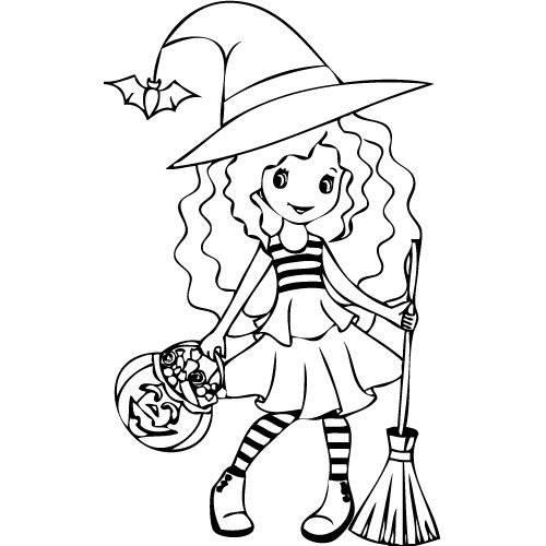 Coloriage et dessins gratuits Petite sorcière et sa citrouille de bonbons à imprimer