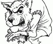 Coloriage et dessins gratuit terrifiant loup-garou Halloween à imprimer