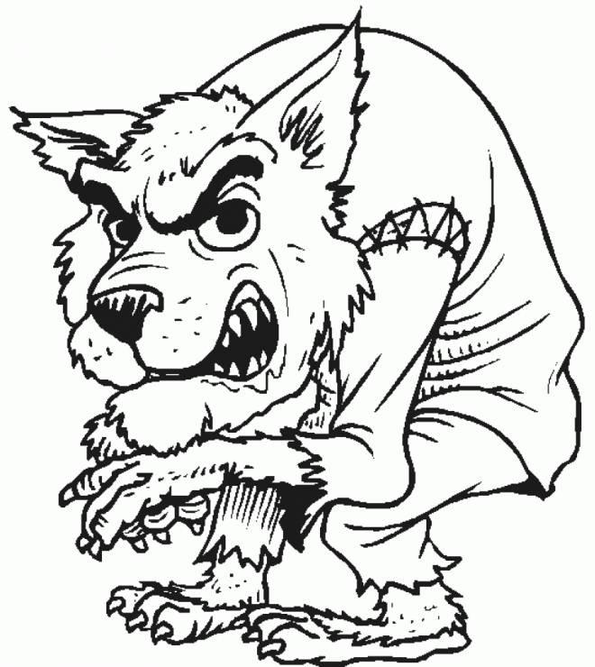 Coloriage terrifiant loup garou halloween dessin gratuit - Dessin loup garou ...
