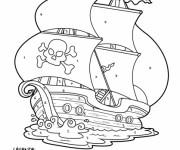 Coloriage Mystère Navire de Pirate