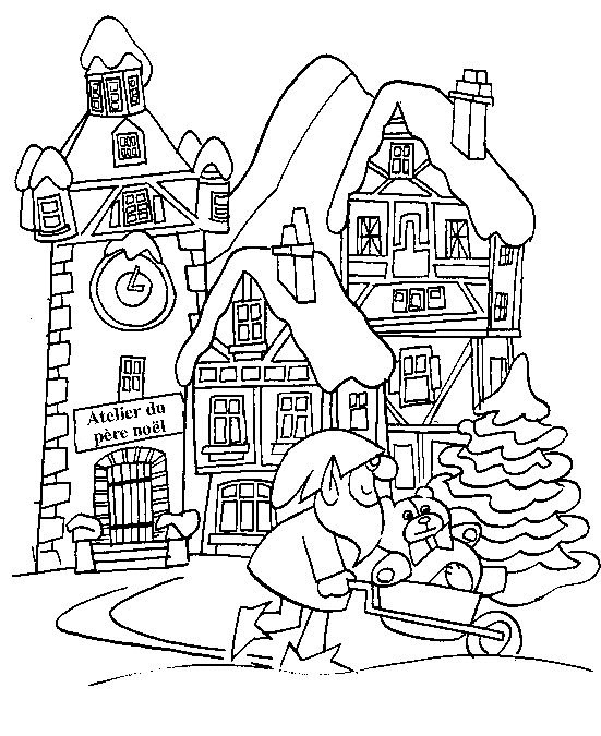 Coloriage et dessins gratuits Noel Adulte en Hiver à imprimer