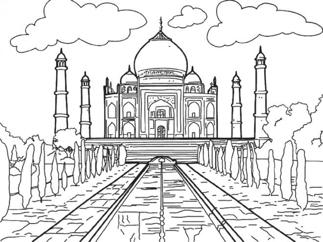 Coloriage et dessins gratuits Taj Mahal indien à imprimer