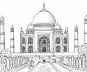 Coloriage et dessins gratuit Taj Mahal Palais en Inde à imprimer
