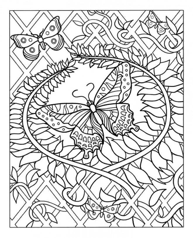 Coloriage et dessins gratuits Art Papillon Difficile à imprimer