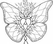 Coloriage et dessins gratuit Mandala papillon de feu à imprimer