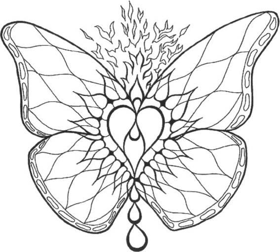 Coloriage et dessins gratuits Mandala papillon de feu à imprimer