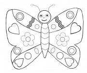 Coloriage Papillon décoré en coeur
