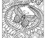 Coloriage dessin  Papillon Difficile 2