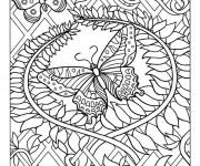 Coloriage et dessins gratuit Papillon Difficile 20 à imprimer