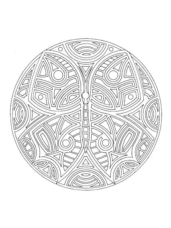 Coloriage et dessins gratuits Papillon Mandala Difficile à imprimer
