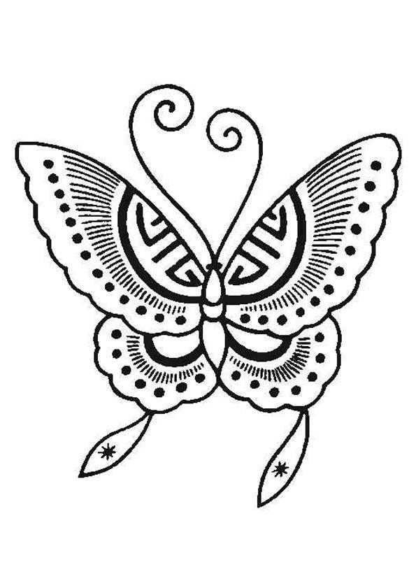 Coloriage et dessins gratuits Papillon simple à découper à imprimer