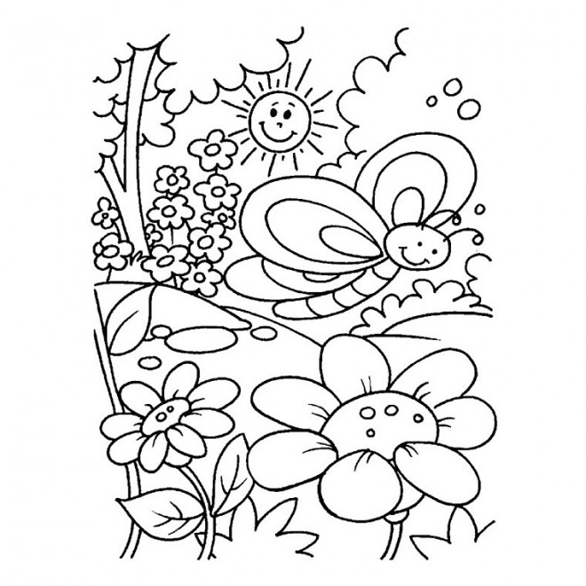 Coloriage jardin fleurs sous le soleil dessin gratuit imprimer - Dessin fleurs printemps ...