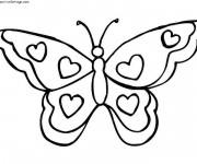 Coloriage Papillon décoré avec des Coeurs