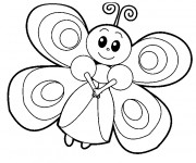 Coloriage Papillon souriante