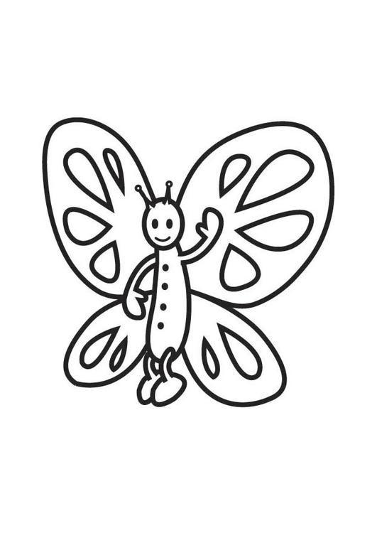 Coloriage et dessins gratuits Papillon te salue à imprimer