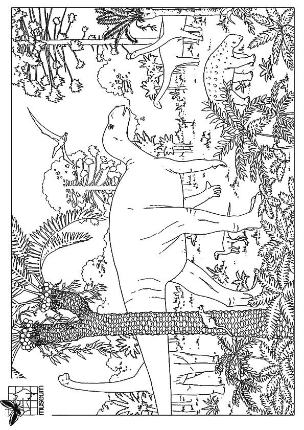 Coloriage paysage de dinosaures dessin gratuit imprimer - Dessin a colorier paysage ...