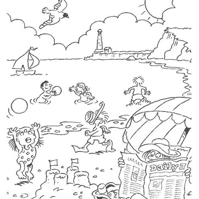 Coloriage paysage de la plage dessin gratuit imprimer - Coloriage plage ...