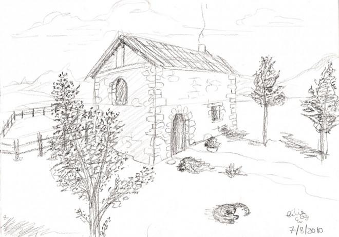 Coloriage Paysage de maison de Campagne dessin gratuit à imprimer