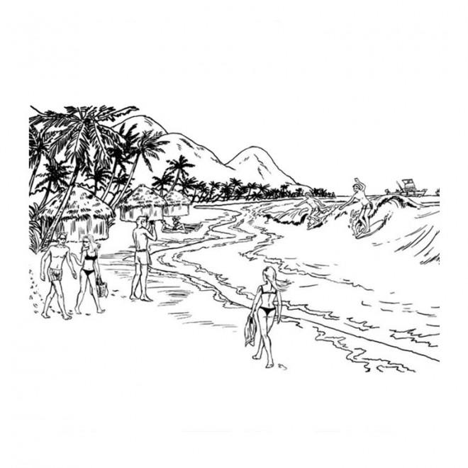Coloriage paysage de plage colorier dessin gratuit - Dessin a colorier paysage ...