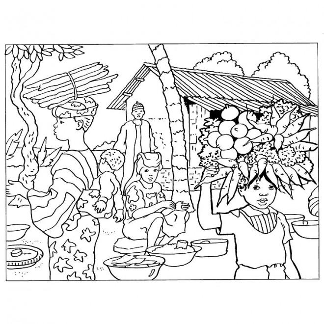 Coloriage Paysage en Afrique dessin gratuit à imprimer